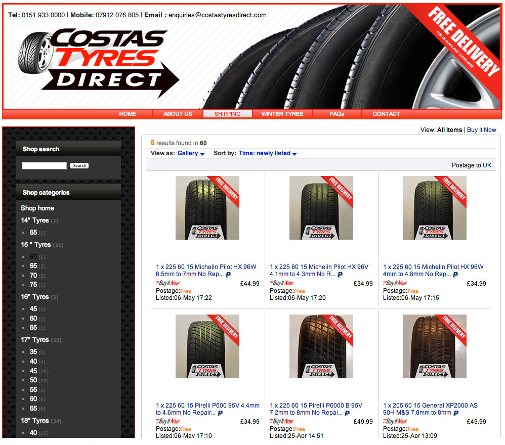 costas tyres direct ebay page